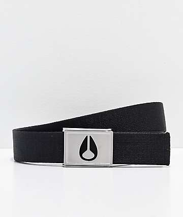 Nixon Spy Black & Silver Web Belt