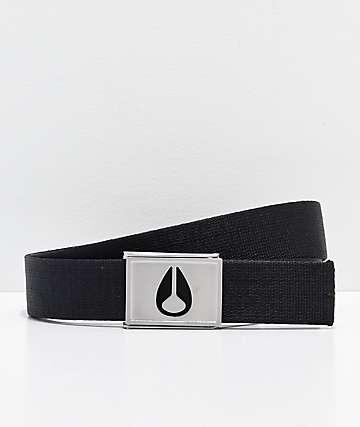 Nixon Spy cinturón tejido negro y plata