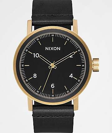 Nixon Stark Leather All Black & Gold Watch