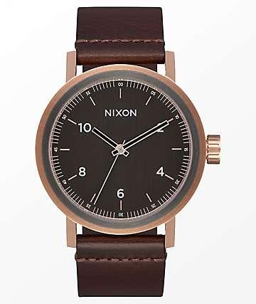 Nixon Stark Leather Rose Gold, Gunmetal & Brown Analog Watch