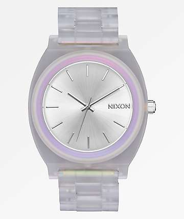 Nixon Time Teller Acetate Clear, Silver, & Rainbow Analog Watch