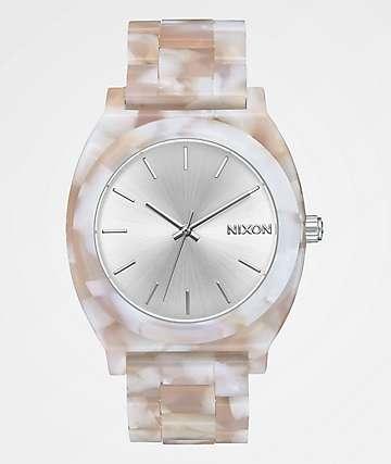 Nixon Time Teller Acetate Pink & Silver Analog Watch