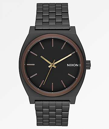 Nixon Time Teller Black, Brown & Brass Analog Watch