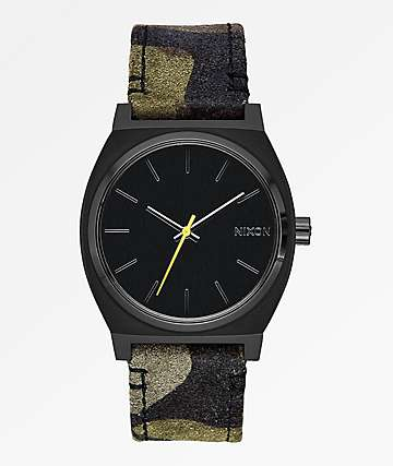Nixon Time Teller Black, Camo & Volt Yellow Analog Watch