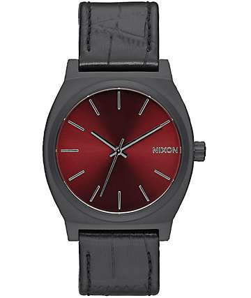 Nixon Time Teller Black Gator & Burgundy Watch