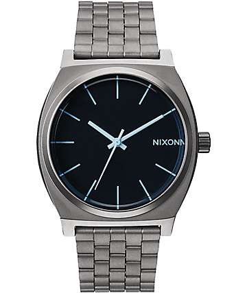 Nixon Time Teller Gunmetal & Blue Crystal Watch