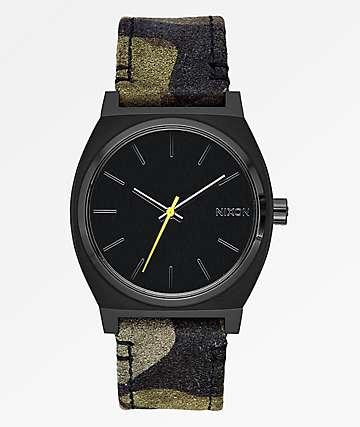 Nixon Time Teller Leather Black, Camouflage & Volt Analog Watch