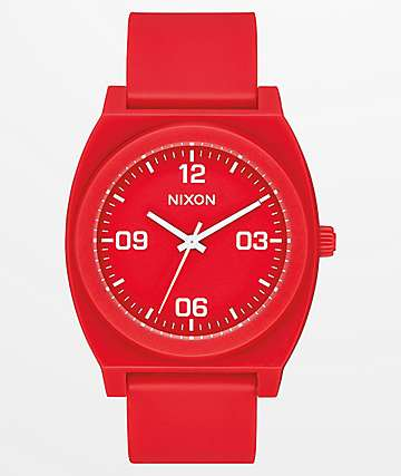 Nixon Time Teller P Corp Red & White Analog Watch