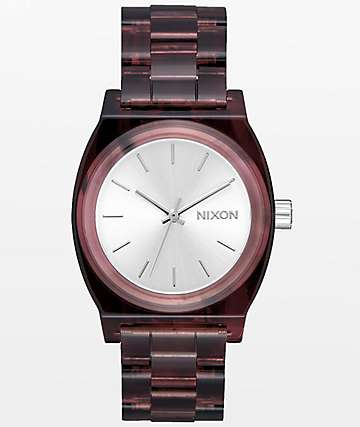 Nixon Time Teller Red Acetate reloj analógico mediano