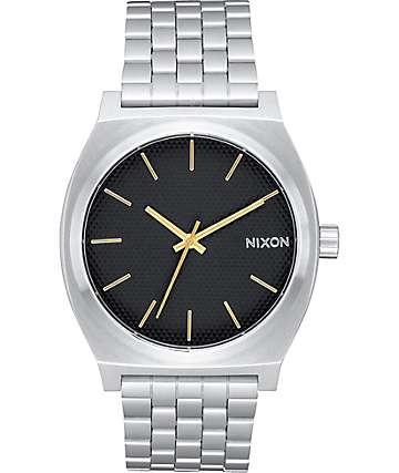 Nixon Time Teller reloj analógico en negro y color plata