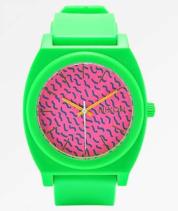 Nixon Time Teller reloj analógico rose y verde neón