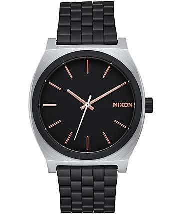 Nixon Time Teller reloj en negro y oro rosa