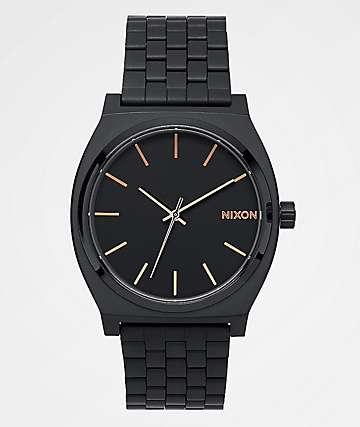 Nixon Time Teller reloj todo negro y oro rosa