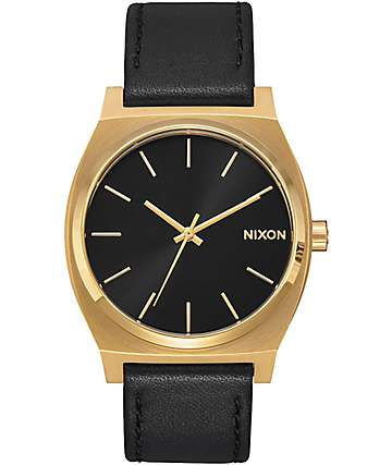 Nixon Timeteller Leather reloj analógico en negro y color oro