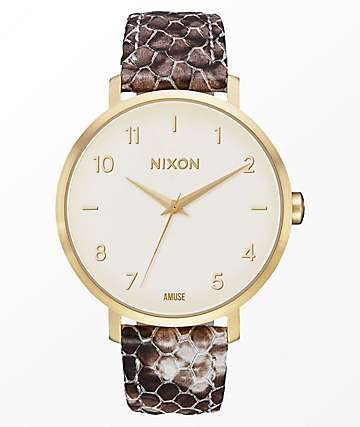 Nixon x Amuse Society Arrow Leather Gold & Taupe Watch