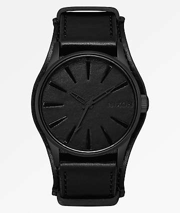 Nixon x Metallica Sentry Leather Black Album Analog Watch