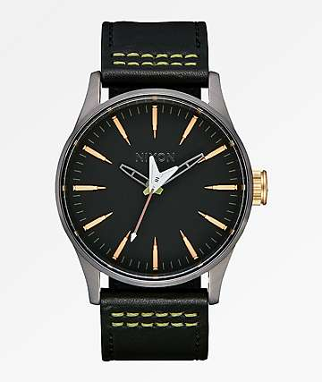 Nixon x Metallica Sentry Leather Seek & Destroy reloj negro