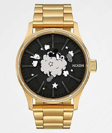 Nixon x Mickey Mouse Sentry SS Gold & Black Analog Watch