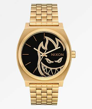 Nixon x Spitfire Time Teller Gold Fireball Analog Watch
