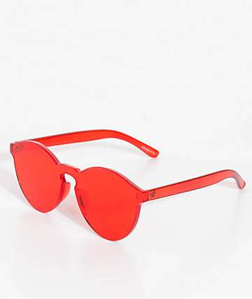 Noah Rimless Red Sunglasses