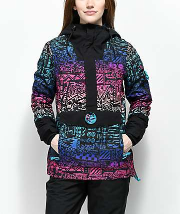 O'Neill 88' Frozen Wave Black AOP 10K Anorak Snowboard Jacket