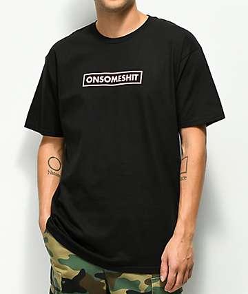 ONSOMESHIT Red & White Box Logo Black T-Shirt