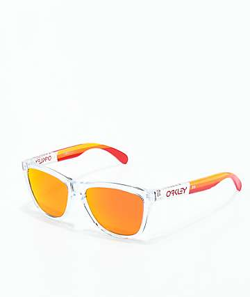 Oakley Frogskins Grips Polish Clear & Ruby Prizm Sunglasses