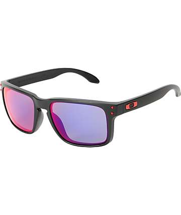 oakley sunglasses zumiez  oakley holbrook matte black & positive red iridium sunglasses
