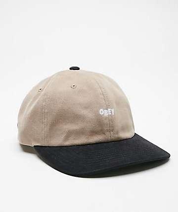 6021470ae49 Obey 90s Jumble Black   Khaki Strapback Hat