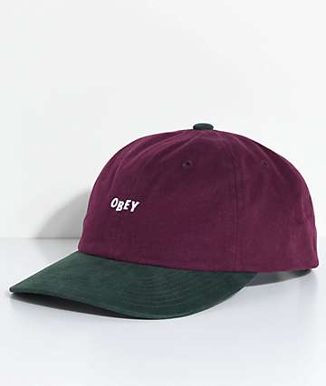 Obey 90s Jumble gorra de seis paneles en verde y color vino
