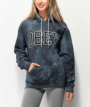 Obey Academic Black Tie Dye Hoodie