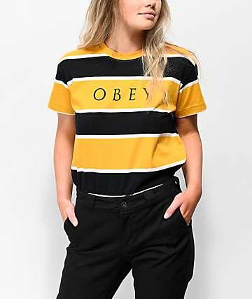 Obey Acid Box camiseta negra y amarilla de rayas