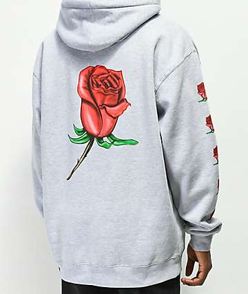 977fa4b0 Obey Airbrushed Rose Grey Hoodie