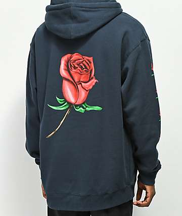 211c551b Obey Airbrushed Rose Navy Hoodie