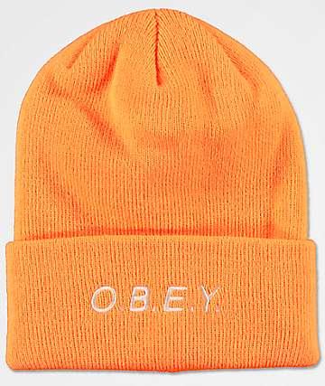 Obey Alert Bright Orange Beanie