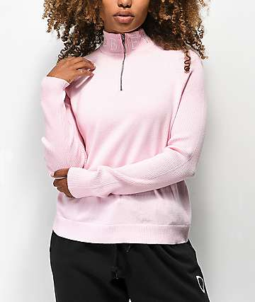 Obey Alicia Mock Neck Zip Up Sweater