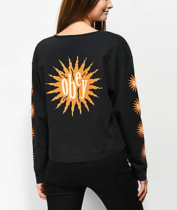 Obey Alive Black Crop Long Sleeve