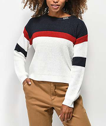 Obey Allie Striped Navy, Red & White Crew Neck Crop Sweater