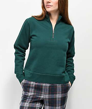 Obey Anya Sage Quarter Zip Fleece Pullover