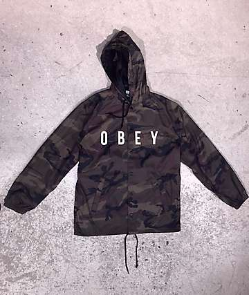 Obey Anyway Camo Hooded Coaches Jacket