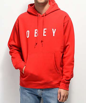 Obey Anyway Red & White Hoodie