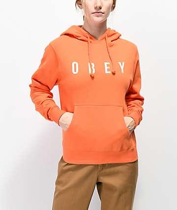 Obey Anyway sudadera naranja con capucha