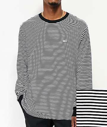 Obey Apex Black & White Stripe Knit Long Sleeve T-Shirt
