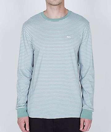 Obey Apex Pastel Green & White Stripe Knit Long Sleeve T-Shirt