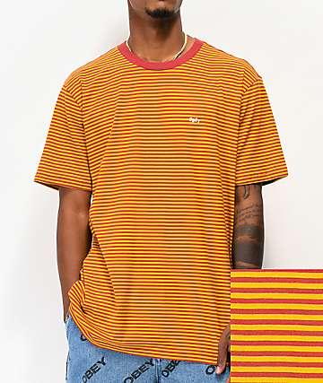 Obey Apex Red & Yellow Stripe Knit T-Shirt