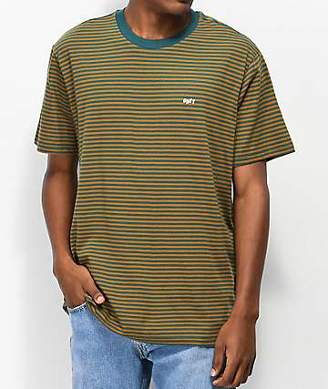 Obey Apex Teal & Tan Stripe Knit T-Shirt