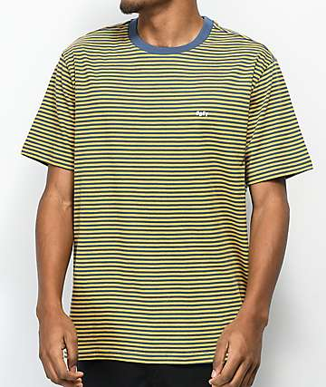 Obey Apex Yellow & Blue Striped Knit T-Shirt