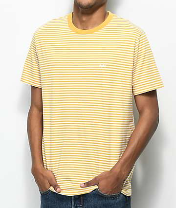 Obey Apex Yellow & White Striped T-Shirt