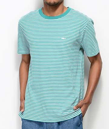 Obey Apex camiseta a rayas en verde azulado y blanco