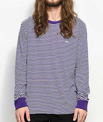 Obey Apex camiseta de manga larga a rayas en morado y blanco